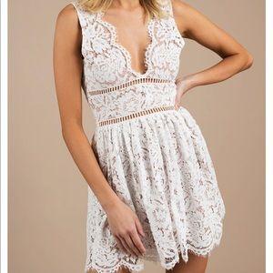 White Lace Scalloped Dress